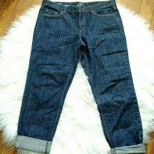 LOFT High Rise Boyfriend Jeans Dark Wash 10